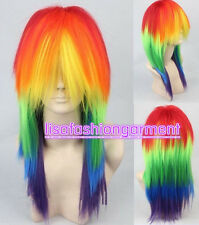 Cosplay My Little Pony Rainbow Dash multi color Heat Resistant wig+free wig cap
