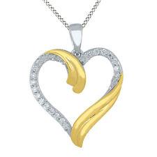 1/5 Ct Round Cut Natural Diamond Heart Pendant 9K Two Tone Gold -IGI-