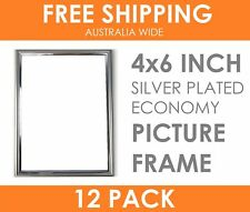 "12 x ECONOMY 4x6"" Silver Plated Thin Picture Frame Table Top Display Photo Frame"