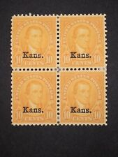 RIV: US MH 667 Block of Four FRESH 9 cent Kansas Overprint 1929 Monroe mint 2E