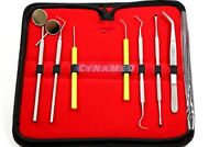 GERMAN Dental Scaler Pick Stainless Steel Tools with Inspection Mirror Set 8 PCS