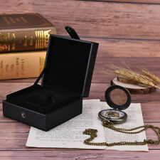 black leather display case single pocket watch jewel chain storage gift box @TSU