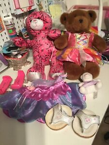 Lot 2 Build a Bear 1 Pink Music Star Plush Bear With Phone/iPod Speaker + Shoes