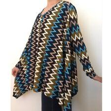 Womens Asymmetrical Hem Chevron Print Oversized Knit Top Size Large