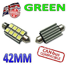 2 X 42mm CANBUS FESTOON Verde LED Bombillas 8 SMD interior número de placa placa 264