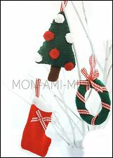 Knitting Pattern Xmas Tree Wreath Stocking Christmas Decorations Card Ornaments