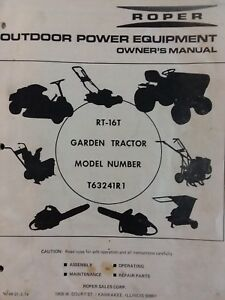 Roper RT-16T Lawn Suburban T63241R1 Garden Tractor Owner & Parts Manual 16 hp