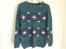 Hollister Women Sweater Sz S Dark Green Geometric Long Sleeve Knit Cotton Blend
