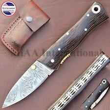 Handmade Damascus Hunting Pocket Folding Knife With Wenge Wood Handle RM-458