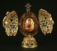 St Petersburg Russian Faberge Egg: Filigree Religious Egg with Madonna, 5.7""