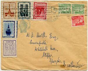 FRANCE 1949 EIFFEL TOWER COMMEMORATIVE LABELS Postmark Ties Envelope CINDERELLA