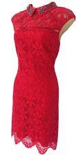 Karen Millen Beaded Embellished Collar Red Lace Party Dress UK 8 DX144