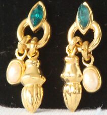 GOLDTONE New VINTAGE Pierced GREEN & Pearl DANGLE EARRING P151 Retail 1981 $18