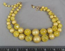 Vintage Yellow Plastic Bead Choker Necklace Costume Jewelry 1950s 1960s mv