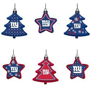 New York Giants Shatterproof TREES & STARS Christmas Tree Ornaments Set 6 pack