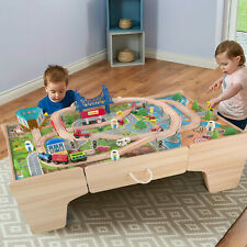 Kids Wooden Train Railway Activity Track Set Play Table with Storage Drawer 80PC