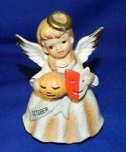 Vtg Nippon Yoko Boeki Japan October Birthday Angel Figurine pumpkin & mask