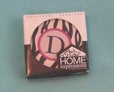 Home Expressions Absorbent Coasters -- Initial 'D' in Zebra Print - Set of Four