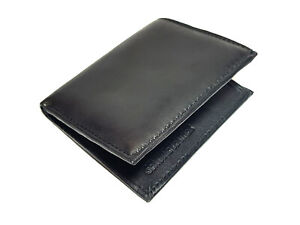 New Black Leather Men's Small RFID Slim Bifold Wallet Credit Card ID Holder