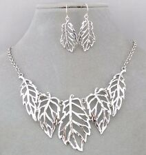 Silver Leaf Bib Necklace Earring Set Fashion Jewelry NEW Pretty!