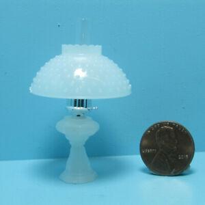 Dollhouse Miniature Chrysnbon White Table Top Oil Lamp with Shade CB104