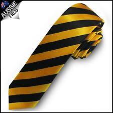 Yellow & Black Men's Striped Satin Skinny Tie