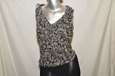 iCe  Woman's Top Large 100% Silk B&W, Ruffle, V-Neck, Sleeveless, Casual Floral