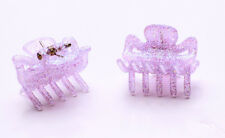 Two Set Lilac Pink Glittery Mini Bulldog Clips For 90S Girl Glam Hair Care(Zx42)