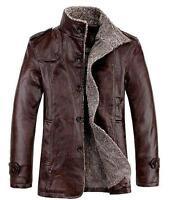 Mens Warm Jackets Leather Coat Fur Lining Parka Fleece Jacket Trench Coat Size