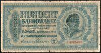 """1000 KARBOWANEZ 1942 GERMANY - UKRAINE / ROWNO - Serial: 1-692480 -""""G"""""""