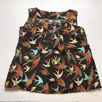 Handmade Brown Bird Sparrow Print Blouse Size Large A1337