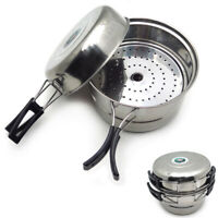3PCS Outdoor Camping Cookware Stainless Steel Cooking Picnic Bowl Pot Pan Set