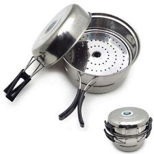 3PCS Outdoor Camping Cookware Stainless Steel Cooking Picnic Bowl Pot Pan Set