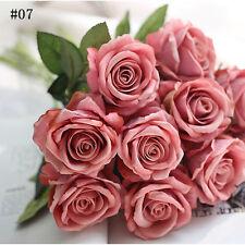 12Colors Artificial Fake Silk Rose Flowers Bridal Wedding Bouquet Bunch Beauty