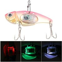 Underwater LED Light Metal Hard Lure 3D Fishing Artificial Bait Treble Hooks