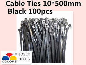 100Pcs Black Electrical Nylon Cable Zip Ties (10mm x 500mm) UV Stabilised