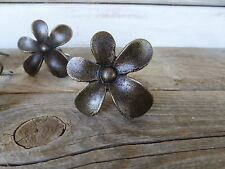 Oil Rubbed Bronze Metal FLOWER Knob Drawer Pull - Rustic Floral Romantic Country