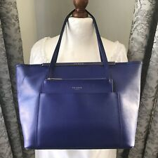 Ted Baker Cobalt Blue Leather Tote Bag With Detachable Pouch
