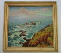 ANTIQUE CALIFORNIA ? HAWAII? ISLAND COASTAL PAINTING EARLY 20TH CENTURY BEACH