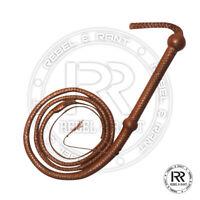 Bullwhip Genuine brown/tan Leather 6 Feet Long 12 Plait Weaving Bull Whip