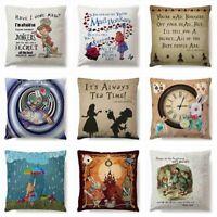 Alice In Wonderland Cushion Cover Throw Pillow Case Sofa Home Car Decor 45*45cm