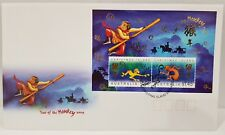 CHRISTMAS IS.  2004  Year of the MONKEY MINI SHEET on FDC