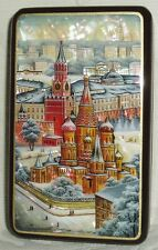 "Russian Lacquer box "" Moscow Kremlin and St. Basil's Cathedral "" Hand Painted"