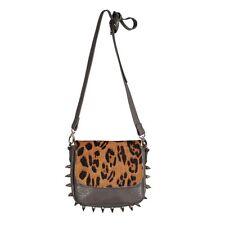 New Luxcessories Spike Leopard Skin Print Cross Body Handbag Purse in Gravel