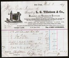 Railway and Telegraph Supplies LG Tillotson & Co New York 1871  Vintage Billhead