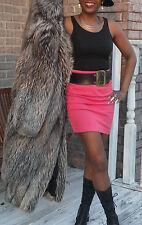 Mint Rare Fabulous Genuine Gucci Full Length Silver fox Fur Coat Jacket M, 6-10
