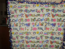 ABC ALPHABET PICTURES LETTERS GIRLS FLEECE BLANKET NEW