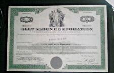 Glen Alden Corporation $1,000 bond certificate coal stock share scripophily