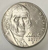 2017 D Jefferson Nickel 5 Cents Double Die Obverse Error Circulated Coin (2754)