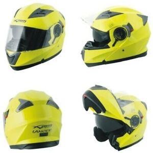 Casque Moduler Peut Être Ouvert Moto Touring Sport Visière Parasol Jaune Fluo